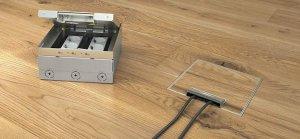 Розетка врезная для пола с заземлением и двумя портами USB